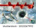winter fishing. drill for... | Shutterstock . vector #1013267992