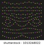 colorful light lamps garlands... | Shutterstock .eps vector #1013268022