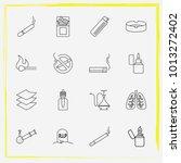 smoking line icon set cigar ... | Shutterstock .eps vector #1013272402