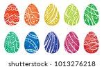 set of easter eggs | Shutterstock .eps vector #1013276218