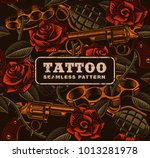 weapon with roses  tattoo... | Shutterstock .eps vector #1013281978