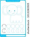 elephant. preschool worksheet... | Shutterstock .eps vector #1013283505
