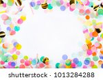 frame made of colorful confetti ... | Shutterstock . vector #1013284288