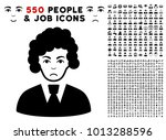 pitiful clerk woman icon with... | Shutterstock .eps vector #1013288596