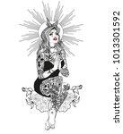 neo getto praying virgin mary.... | Shutterstock .eps vector #1013301592