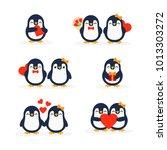 cute penguins set happy... | Shutterstock .eps vector #1013303272