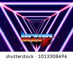 neon tunnel in space with 80s... | Shutterstock .eps vector #1013308696