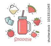 smoothie cocktail in a jar and... | Shutterstock .eps vector #1013311045