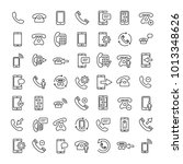 set of 16 phone thin line icons.... | Shutterstock .eps vector #1013348626