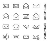 set of 16 mail thin line icons. ... | Shutterstock .eps vector #1013348632
