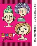 doodle girl . | Shutterstock .eps vector #1013351158