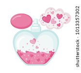 perfume icon with hearts cloud... | Shutterstock .eps vector #1013357302
