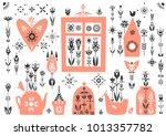 vector spring poster in folk... | Shutterstock .eps vector #1013357782