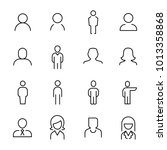 set of 16 user thin line icons. ... | Shutterstock .eps vector #1013358868