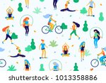 people in the park vector flat... | Shutterstock .eps vector #1013358886
