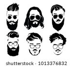 set of hairstyles for men in... | Shutterstock .eps vector #1013376832