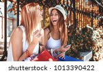 Small photo of Shopping time. Two beautiful women enjoying in shopping, having fun in the city. Consumerism, shopping, lifestyle concept