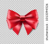 red ribbon bow transparent... | Shutterstock .eps vector #1013394526