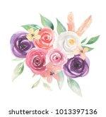 watercolor flowers floral... | Shutterstock . vector #1013397136