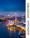 singapore cityscape at dusk.... | Shutterstock . vector #1013397802