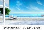 relaxing summer  beach lounge ... | Shutterstock . vector #1013401705