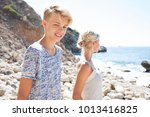 portrait of mother and son... | Shutterstock . vector #1013416825