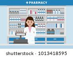 pharmacy interior with... | Shutterstock .eps vector #1013418595