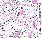 vector fashion fun patches... | Shutterstock .eps vector #1013421718