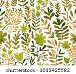 watercolor floral seamless... | Shutterstock . vector #1013425582