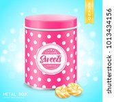 pink tin metal box sweets... | Shutterstock .eps vector #1013434156
