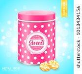 pink tin metal box sweets... | Shutterstock .eps vector #1013434156