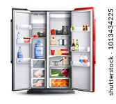 open refrigerator with two red... | Shutterstock .eps vector #1013434225