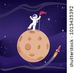 mercury and astronaut wearing... | Shutterstock .eps vector #1013435392