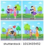 man presenting luxury bouquet... | Shutterstock .eps vector #1013435452