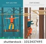rope walking park activities...   Shutterstock .eps vector #1013437495