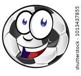 soccer ball cartoon mascot... | Shutterstock .eps vector #1013437855