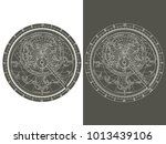 monochrome vector image of an... | Shutterstock .eps vector #1013439106
