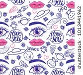 valentine's day. blue doodle... | Shutterstock .eps vector #1013441962