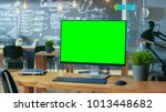 personal computer with mock up... | Shutterstock . vector #1013448682