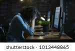 tired  overworked female mobile ...   Shutterstock . vector #1013448865