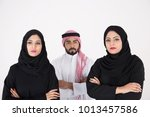 two arab females with one male... | Shutterstock . vector #1013457586