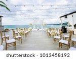 beach wedding venue ocean view...   Shutterstock . vector #1013458192