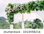 wedding arch decoration  flower ...   Shutterstock . vector #1013458216