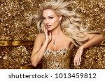 beautiful blonde woman in... | Shutterstock . vector #1013459812