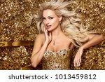 beautiful blonde woman in... | Shutterstock . vector #1013459812
