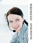 Small photo of Happy tele sales woman