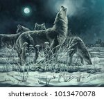 Flock Of Wolves At Night  The...