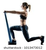 one caucasian woman exercising... | Shutterstock . vector #1013473012