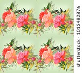 peonies seamless   pattern... | Shutterstock . vector #1013482876