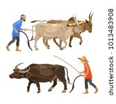 peasants plow the land with... | Shutterstock .eps vector #1013483908